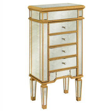 Elegant Lighting Florentine Gold and Antique 4 Drawer Jewelry Armoire [MF1-5102GA]
