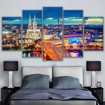Cologne Cathedral Hohenzollern Bridge Landscape Poster City Lights 5 Piece Wall Art Pictures Canvas Painting Home Decor Bedroom