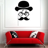 Wall Decor Vinyl Sticker Room Decal Mustache Bike Bicycle Velocipede Glasses Eyeglasses Chainlet Hat Napper Bowler Derby Gentleman (S125)