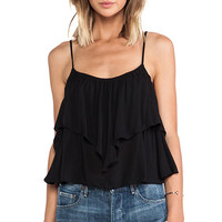 Indah Plumeria Open Flutter Back Camisole in Black