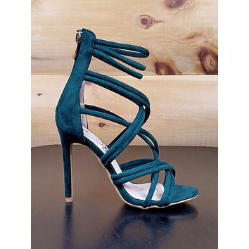 "So Me Nora Strappy 4.25"" High Heel Single Sole Shoe Emerald Green"