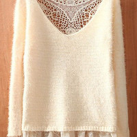 Beige Round Neck Long Sleeve Lace Hollow Sweater - Sheinside.com