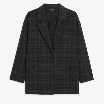 Plaid blazer - Dark grey checks - Coats & Jackets - Monki GB