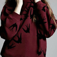 Burgundy Round Neck Swallows Print Sweatshirt