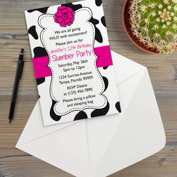 Instant Download - Cow Bright Pink Animal Print Country Farmer Farm Cowgirl Ranch Floral Slumber Birthday Party Invitation Template