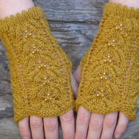 Fingerless gloves ~ Yellow knit wrist warmers ~ Unique gift for anniversary, I love you to the moon and back lace mittens