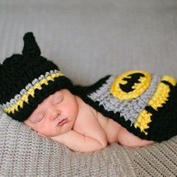 Newborn Baby Unisex Handmade Kintted crochet photography props animal batman hat cover set infant beanie hat = 1928075780