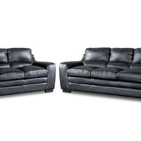 Baxton Studio Diplomat Modern Black 2PC Sofa Set Set of 1