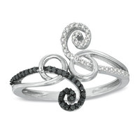 1/5 CT. T.W. Black and White Diamond Scroll Bypass Ring in 10K White Gold - View All Rings - Zales