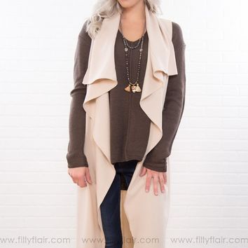 Draped With Love Trench With Waist Tie In Taupe
