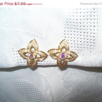 Sale Coro earrings clip on rhinestone AB earrings