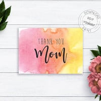 Thank You Card For Mom, Mother's Day, Mom Card, Thank You Mom, Watercolor Card, Card for Mother, Mothers Day Gift, Mothers Day Card