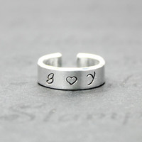 Personalized Lovers Initials Ring, Aluminum Love Initials Ring, Hand Stamped Two Initials with Heart, Lovers Girlfriend Best-Friends Gift