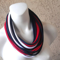 Red, White & Blue Infinity Jersey T-Shirt Scarf Necklace, Patriotic, American Flag