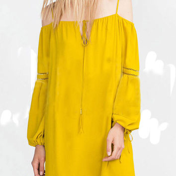 Yellow Off-Shoulder Bell Sleeve Shift Dress