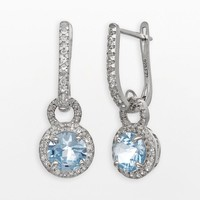 Sterling Silver Lab-Created Aquamarine & Lab-Created White Sapphire Halo Drop Earrings (Aquamarine/White/Sapphire)