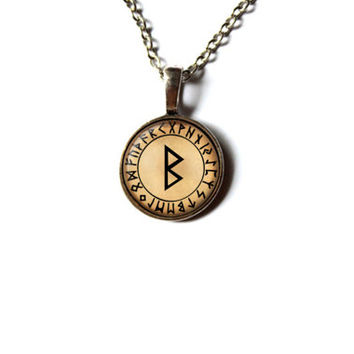 Beorc rune jewelry Nordic necklace Viking pendant NWR18