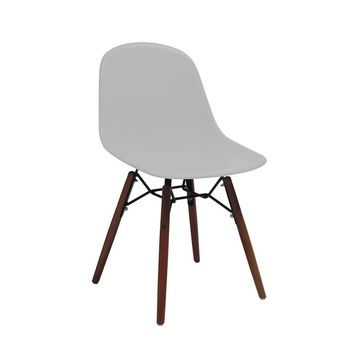 Grazia Platinum Mid Century Side Chair Walnut Base Original Design (Set of 4)
