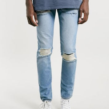 Light Blue Blow Out Knee Classic Skinny JEANS - Men's Jeans - Clothing