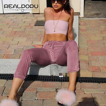 Realpopu Casual Pantalon Femme Pink Striped High Waist Ankle-Length Pants Women Velvet Push Up Warm Winter Trousers Harem Pants