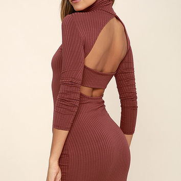 Party Goer Rusty Rose Long Sleeve Bodycon Dress