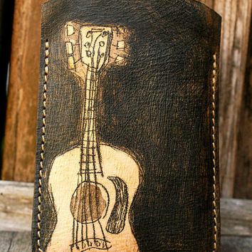 Leather Case for Iphone 4s Itouch ipodcover Guitar Man 2 by rntn