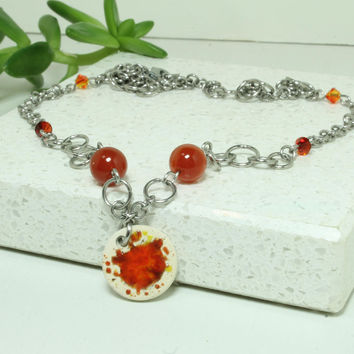 Aromatherapy Necklace Miniature Bright Pendant Handmade pottery necklace Carnelian