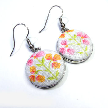 Dangle Earrings, Pink White Flower Green Leaves Earrings, Shabby Cottage Chic, Fabric Buttons Spring Jewelry drop earrings, romantic earring