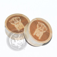 Pug Engraved Wood Plugs