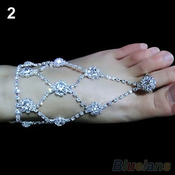 1PC Barefoot Sandals Foot Jewelry Beach Wedding Dancing Ankle Bracelet Chain (Size: 2, Color: Silver) = 1933204036