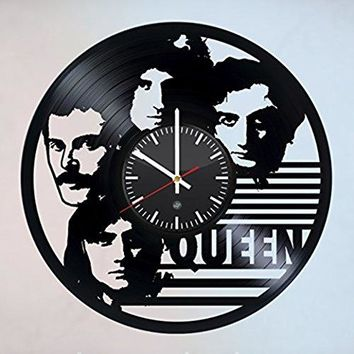 QUEEN Music Legends Vinyl Record Wall Clock - Decorate your living room with Modern Art - Best gift idea for men and women