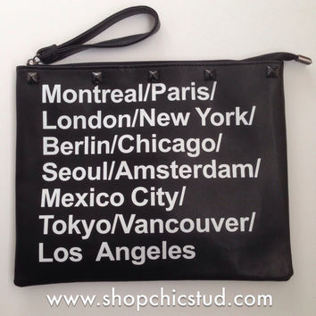 Studded Jumbo All City Clutch Bag - Carry All - Black Studs