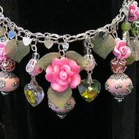 """Valentines Bracelet, Roses, Crystal Hearts, Glass Hearts Acrylic flowers, Silver charms, Handcrafted, Say it with Roses  """"One of a Kind"""""""
