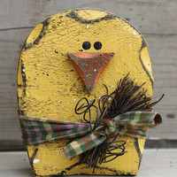 Easter Chick, Easter Decor, Primitive Spring, Spring Chick, Shelf Sitter, Rustic Spring, Primitive Chick, Yellow Spring, Wood Chick