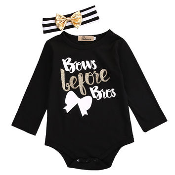 Bows Before Bros  Romper w/ Headband