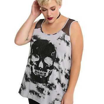 Grey & Black Fishnet Tie Dye Girls Tank Top Plus Size