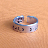 Hakuna Matata - Hand Stamped Aluminum Ring -  1/4'' - adjustable