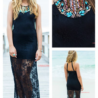 Loss For Words Black Lace Maxi Dress