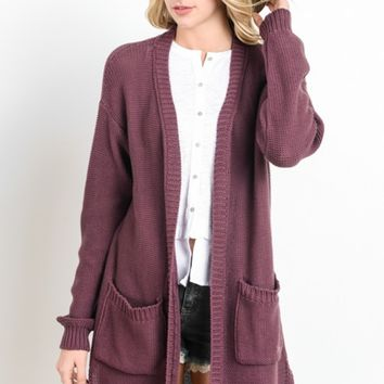 Red Bean Cardigan with Pockets