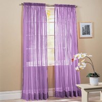 "2-Piece Solid Lavender Purple Sheer Window Curtains/Drape/Panels/Treatment 60""w X 84"""