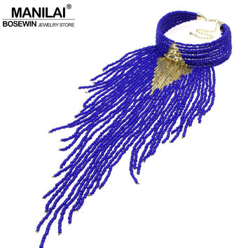 MANILAI Indian Jewelry Handmade Chunky Choker Necklace Long Beaded Tassel Necklaces Statement Collar Women Accessories Big 2017