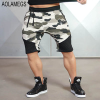 Aolamegs Mens Camo Shorts GymShark Trunks Bodybuilding Fitness Joggers Shorts 2016 Fashion Casual Camoflage Sweatpants Homme