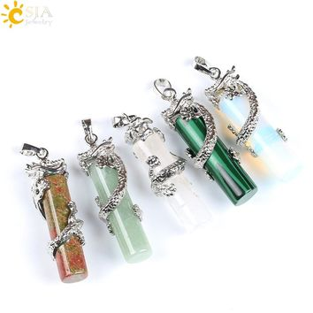 Dragon Wrap Drop Natural Stone Pendant for Women