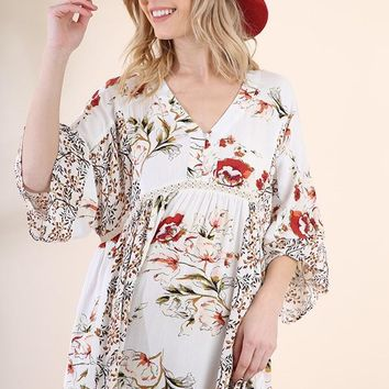 Ivory Floral Bell Sleeve Button Up Dress