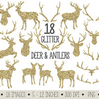Deer and Antlers Silhouette Clipart. Gold Glitter Deer Clip Art. Digital Anler, Deer Silhouettes. Gold Christmas Raindeer Scrapbook Clipart.