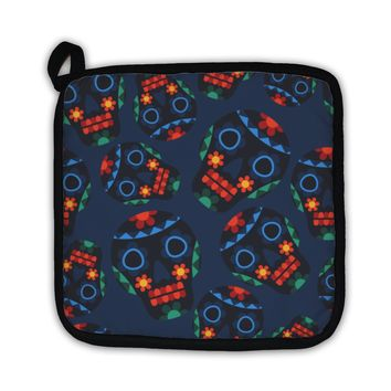 Potholder, Mexican Pattern With Skulls In Native Style