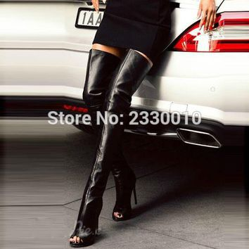 2017 New Arrival Black Sexy Peep Toe Stiletto Heel Thigh High Boots Slim Women Open Toe Over The Knee Gladiator High Heel Boots