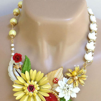 White Statement Necklace, Yellow Necklace, Fashion Jewelry Necklace for Women, Handcrafted Jewelry, Flower Bib Necklace, One of a Kind