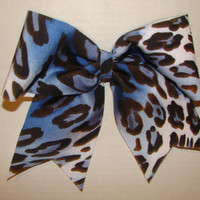 Blue and White Cheetah Cheer Bow