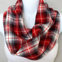Red & Black Soft Flannel Cowl Womens One Loop Fall Plaid Scarf Girls Fall Fashion Accessories Womens Red Plaid Cowl